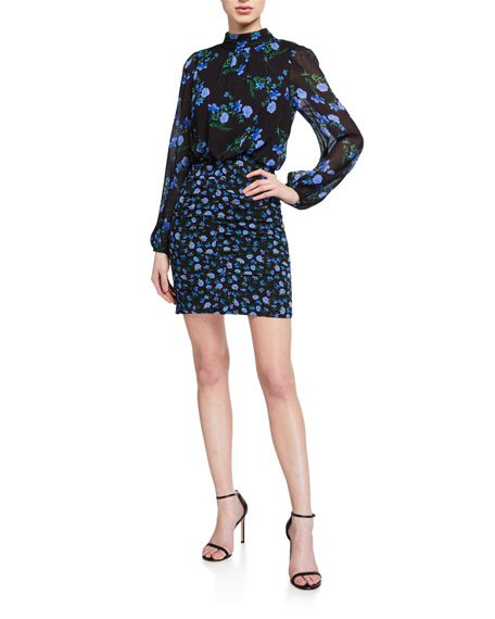 Kianna Montmarte Floral Long-Sleeve Short Dress