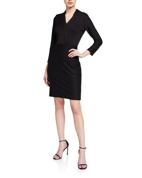 Delia Wide-Rib Stretch Knit Sheath Dress