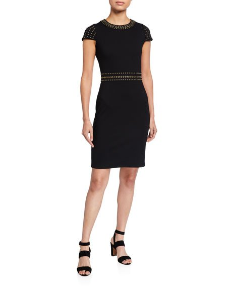 Grommet Embellished Cap-Sleeve Sheath Dress