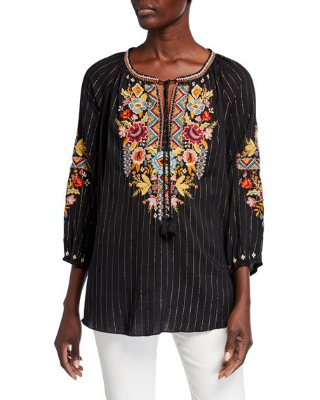 Plus Size Clansy Metallic Stripe Multi Embroidered Peasant Blouse