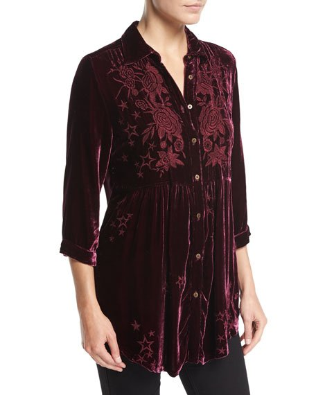 Plus Size Roberta Velvet Smocked Blouse