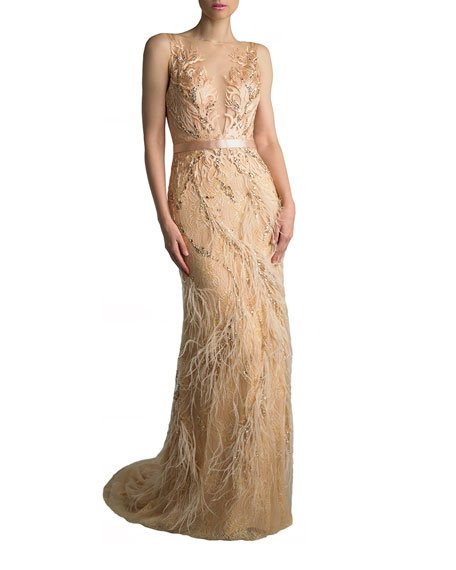 Sleeveless Feather Embellished Column Gown