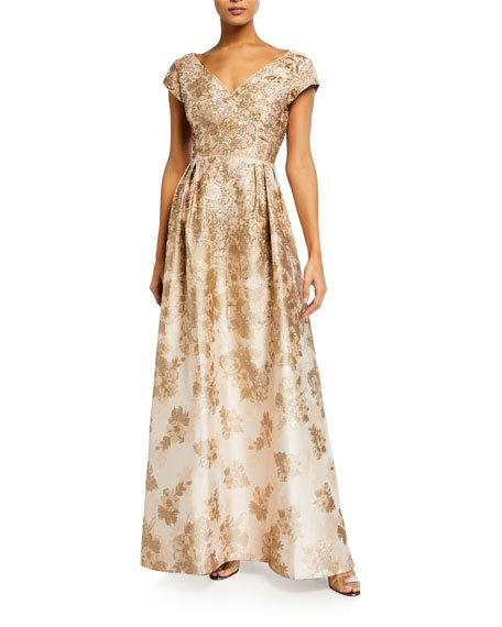 V-Neck Princess Seam Metallic Jacquard Gown