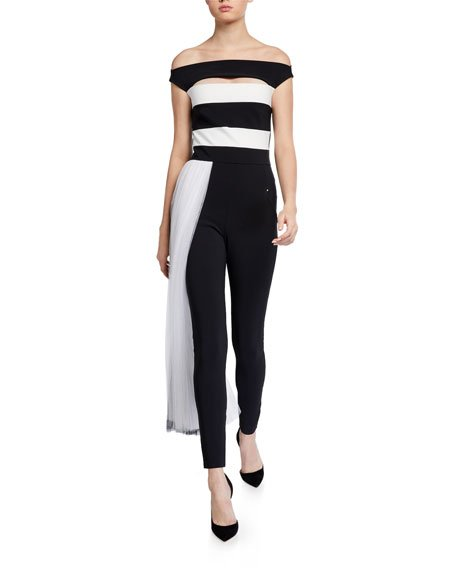 Mar Two-Tone Off-the-Shoulder Jumpsuit w/ Illusion Waist Train
