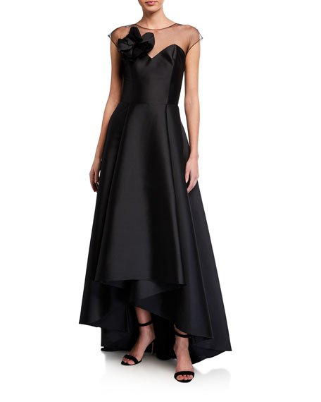 Blakely High-Low Stretch Mikado Illusion Gown
