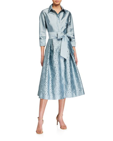 Taffeta Shirt Dress w/ Eyelet Skirt