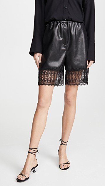 Faux Leather Lace Trim Bermuda Shorts