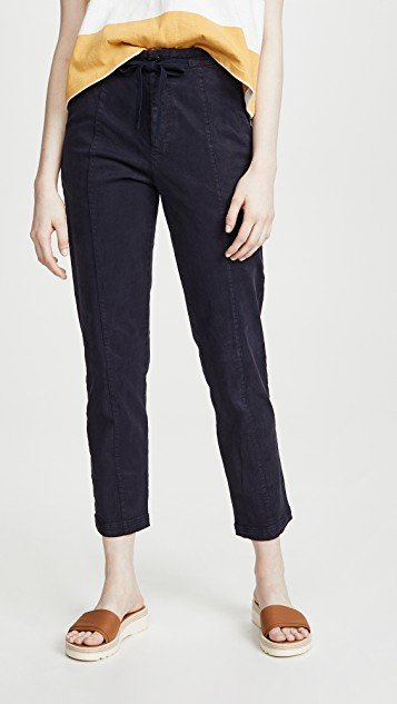 Drawstring Washed Twill Ankle Pants