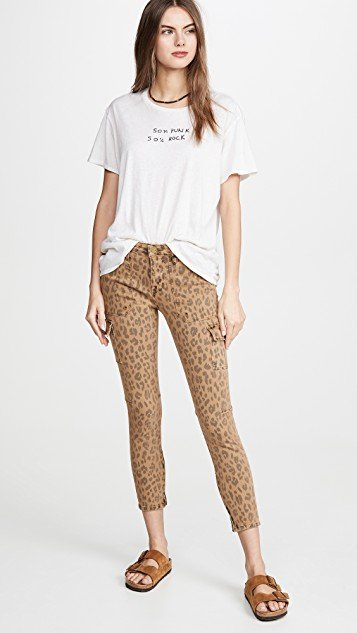 Spring Cheetah Cargo Skinny Jeans