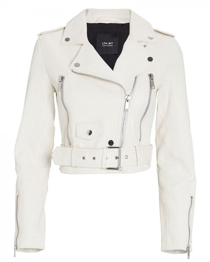 Mya Cropped Leather Moto Jacket