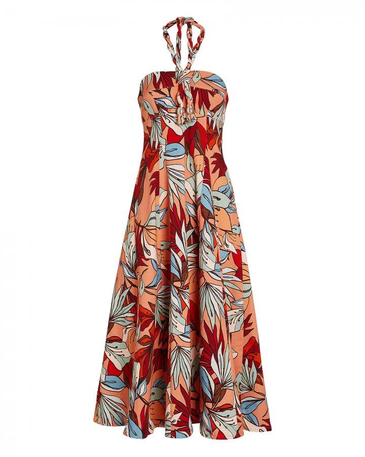 Tina Deco Floral Halter Dress