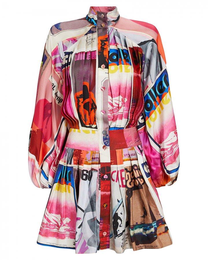 Wavelength Pleated Silk Dress