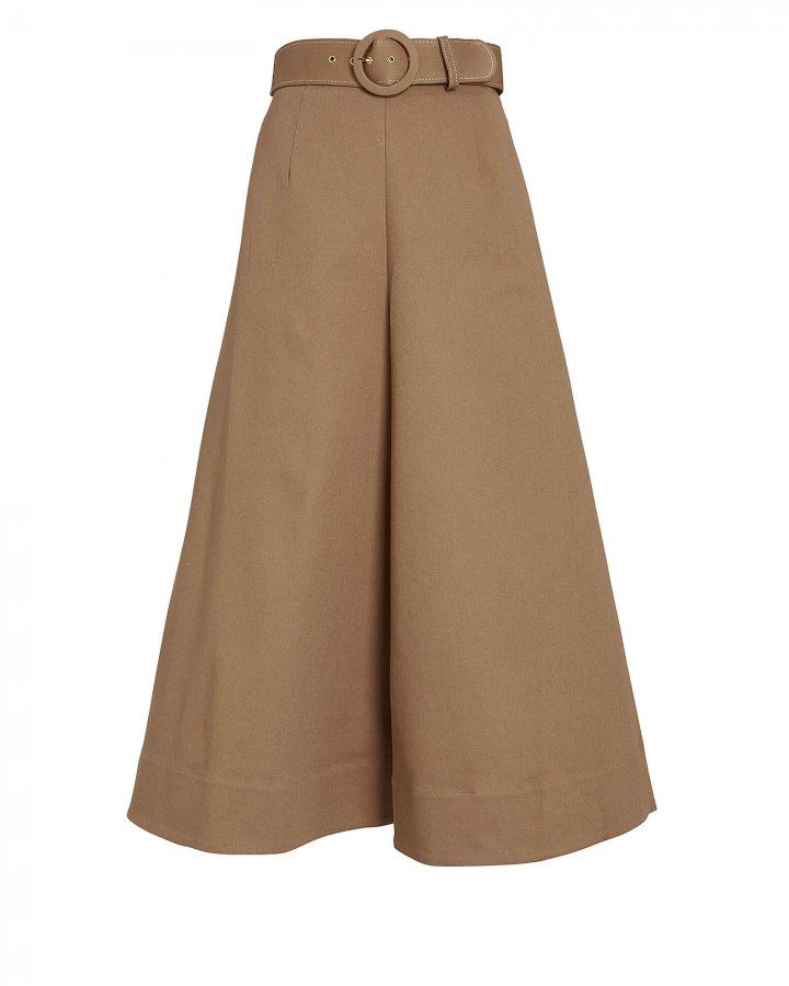 Jacqueline Belted Twill Skirt