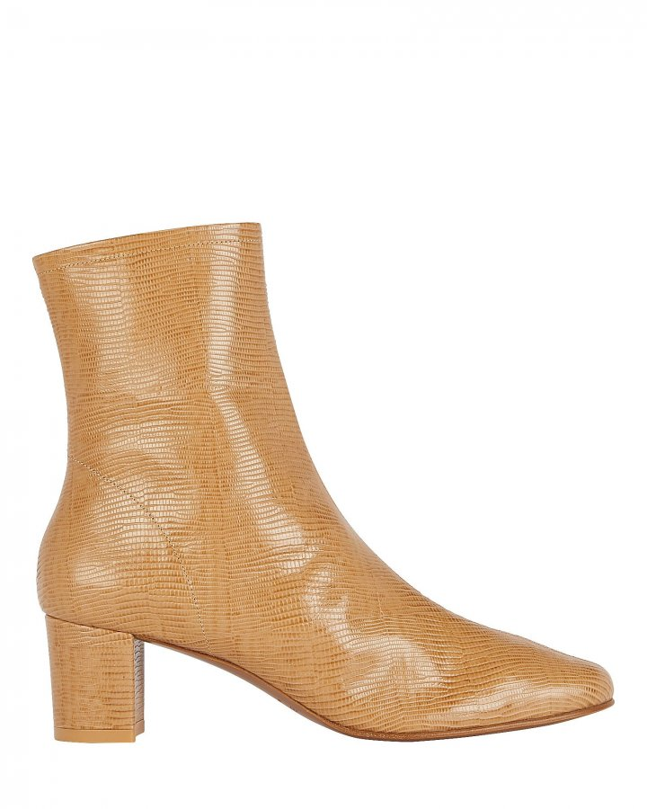 Sofia Lizard-Embossed Leather Booties