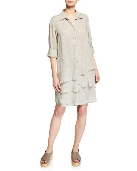 Petite Jenna Washed Linen Shirtdress with Tiered Ruffles