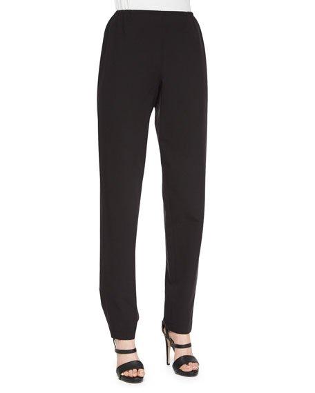 Plus Size Travel Gabardine Slim Pants, Black