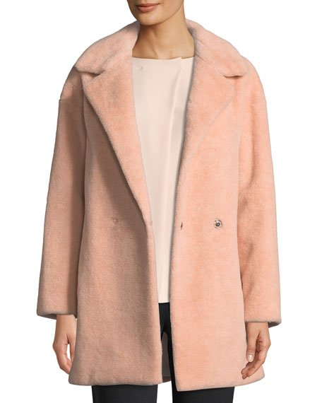 Teddy Double-Breasted Faux Fur Jacket