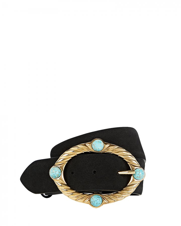 Embellished Buckle Suede Belt