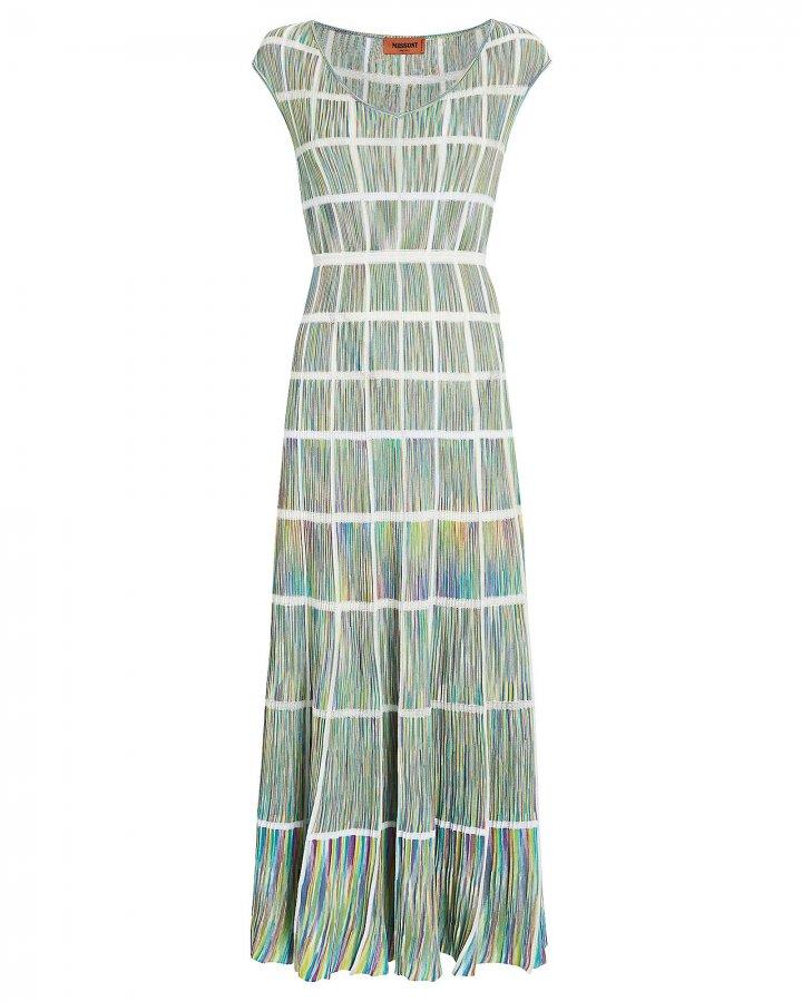 Knit Window Pane Midi Dress