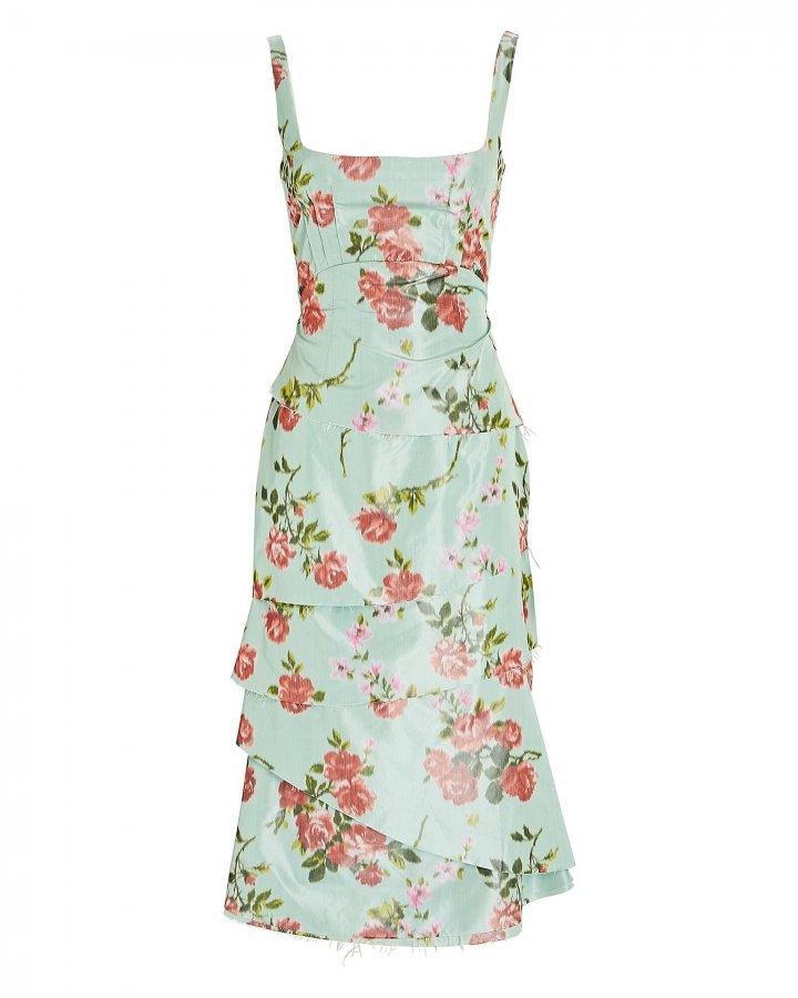 Floral Taffeta Midi Dress