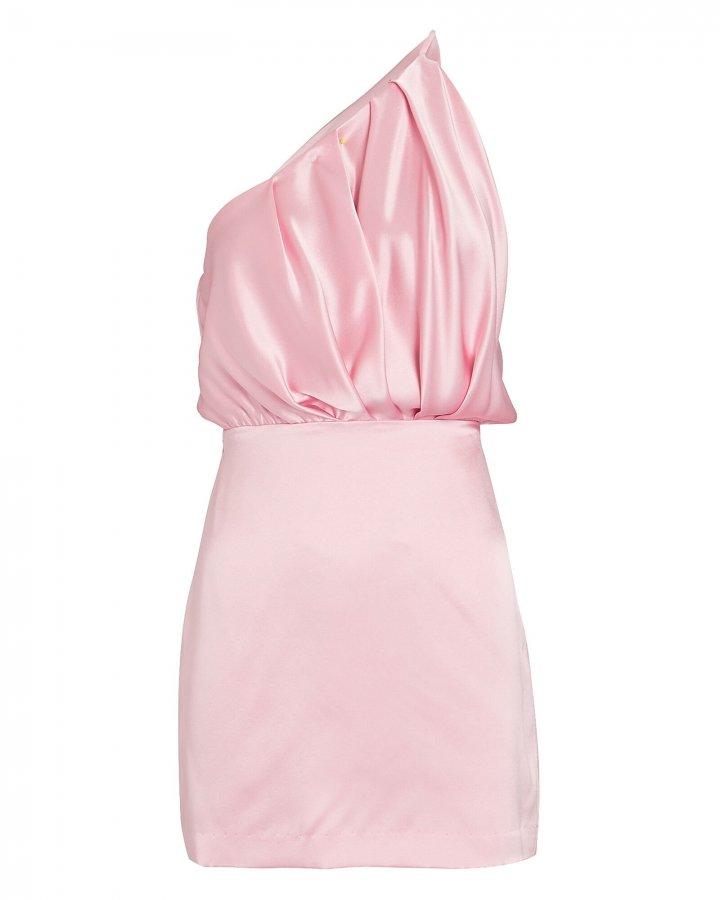 Pleated One-Shoulder Silk Dress