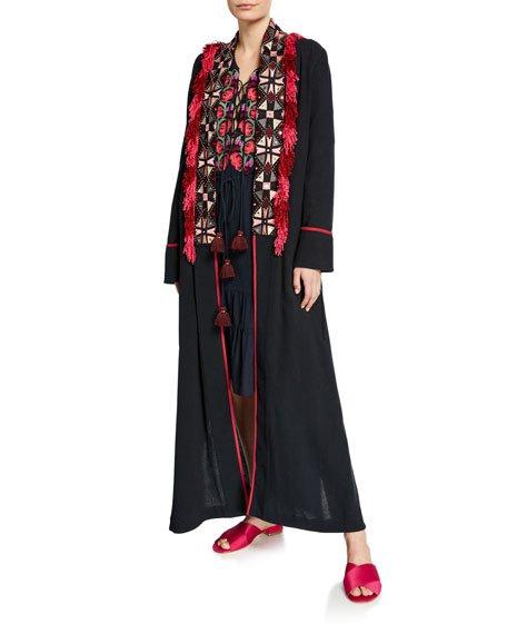 Olatz Wide Embroidered Fringe-Placket Robe
