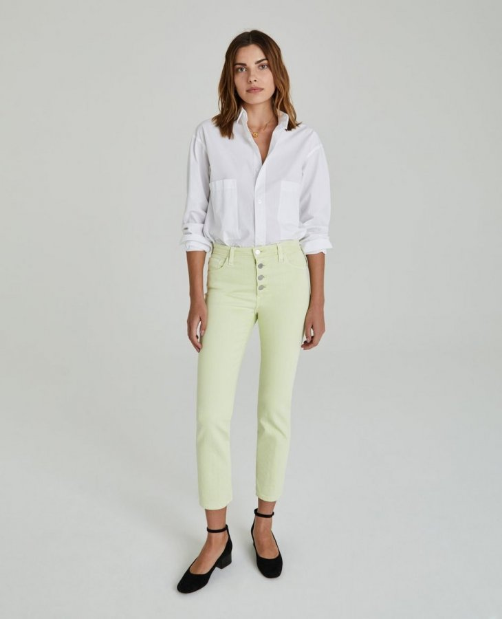 The Isabelle Button-Up in Hi White Citrus Mist  at AG Jeans Official Store