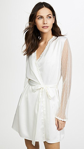 Showstopper Charmeuse Robe With Lace