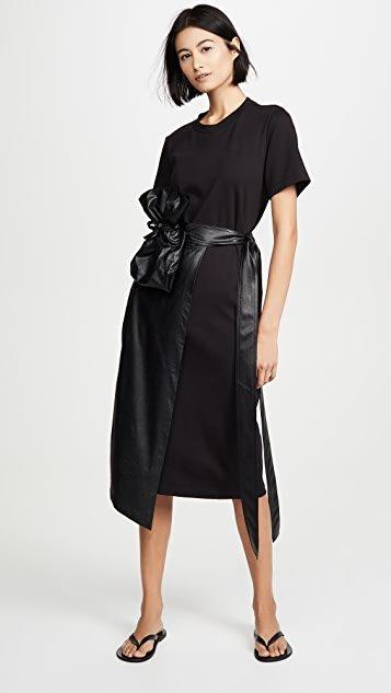 Faux Leather Overlaid Cotton Jersey Wrap Dress