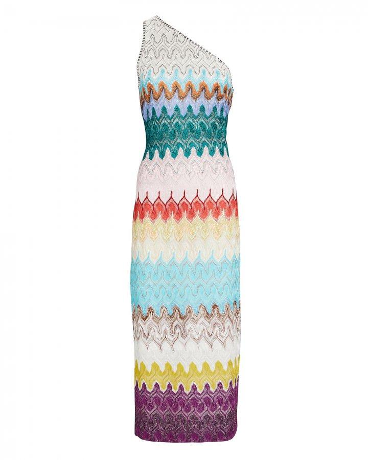 One-shoulder Rainbow Wave Midi Dress