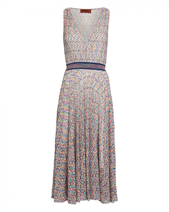 Rainbow Knit Faux-Wrap Dress