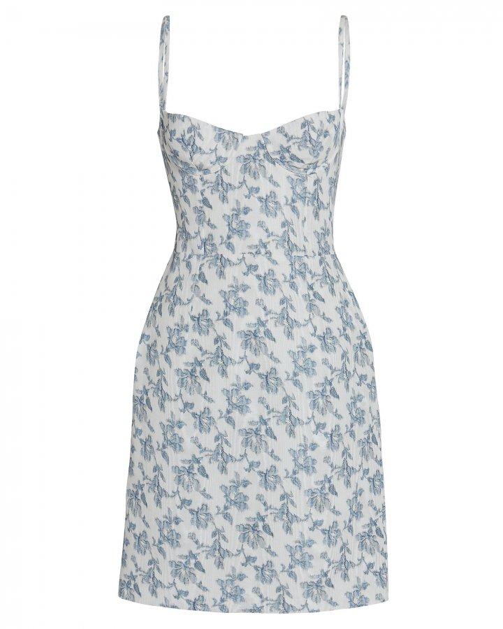 Floral Moiré Bustier Dress