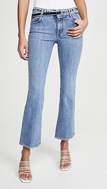 Mid Rise Logo Belt Jeans