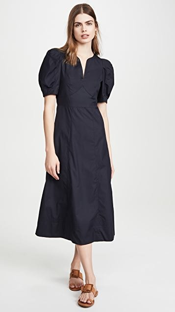 Carlie Puff Sleeve Poplin Midi Dress