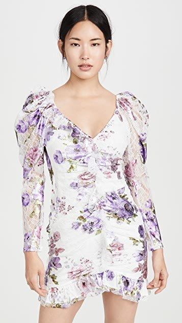 Wildflower Foil Lace Mini Dress