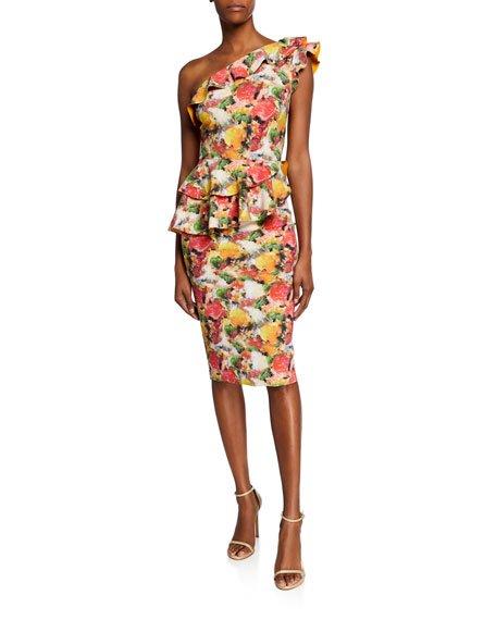 Printed Ruffled One-Shoulder Asymmetric Peplum Dress