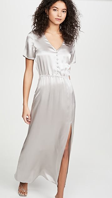 Addison Satin Button Front Dress