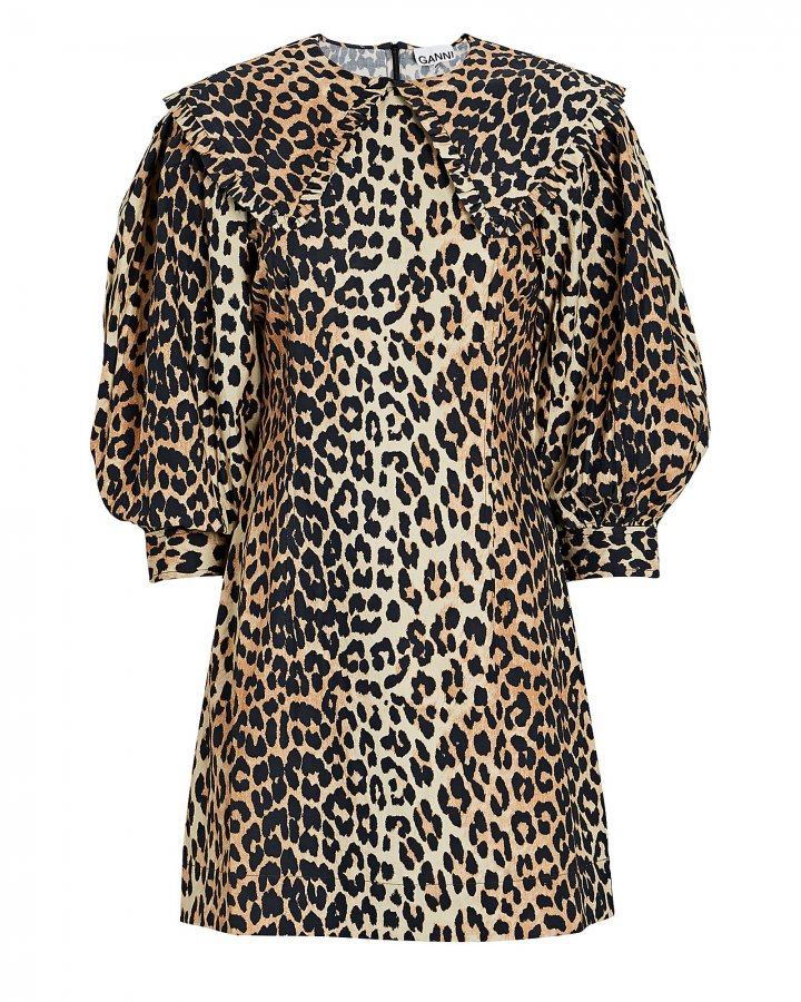 Leopard Cotton Poplin Mini Dress