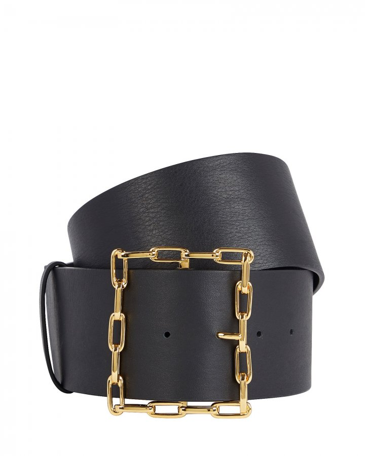 Geo Chain Buckle Leather Belt