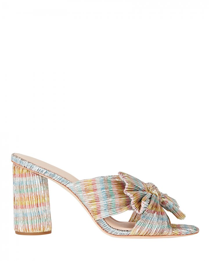 Penny Knotted Lamé Slide Sandals