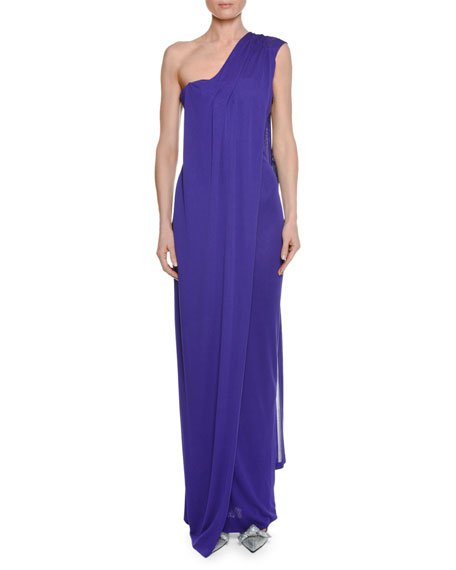 One-Shoulder Bustier Gown with Scarf Detail