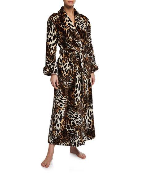 Leopard-Print Faux Fur Long Robe