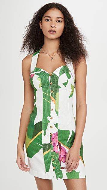 White Tropicalistic Linen Mini Dress