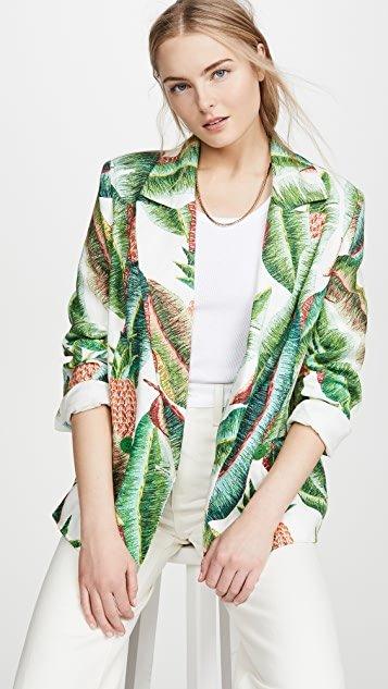 Forest Palm Linen Blazer