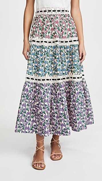 Tiered Prairie Skirt With Lace Trim