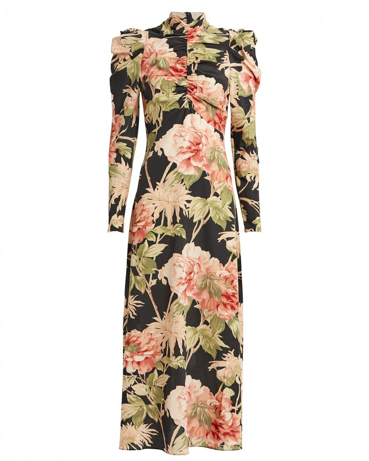 Espionage Floral Silk Dress