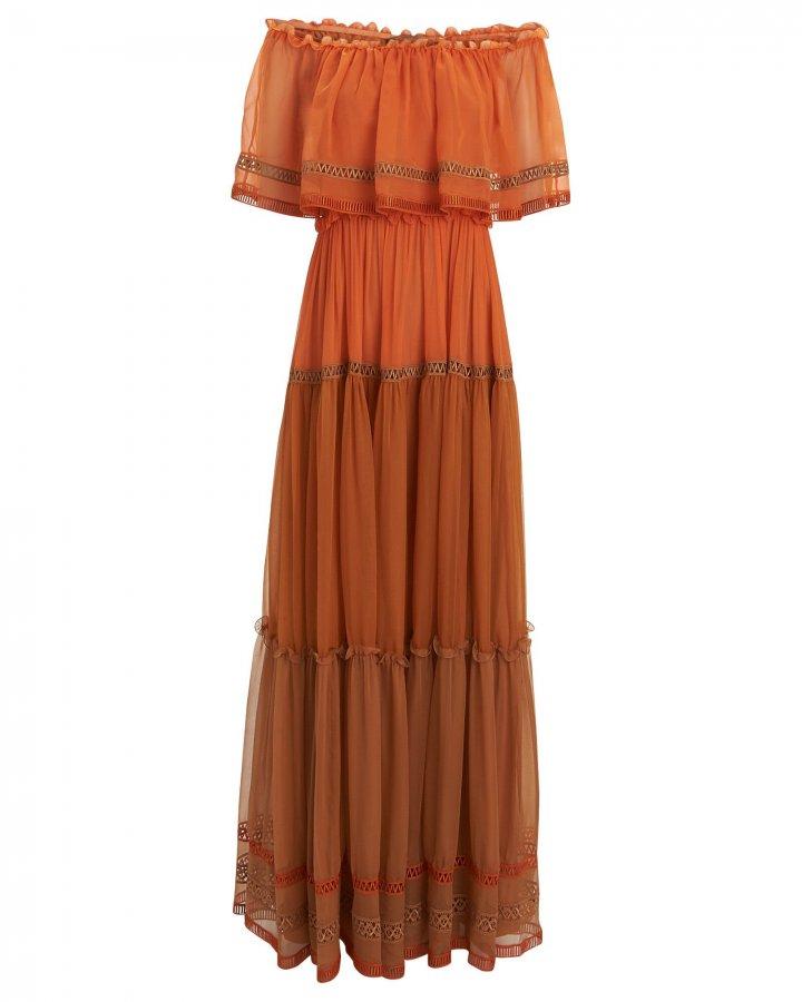 Off-the-Shoulder Silk Chiffon Gown