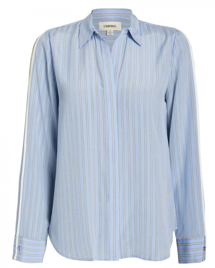 Maggie Striped Silk Blouse