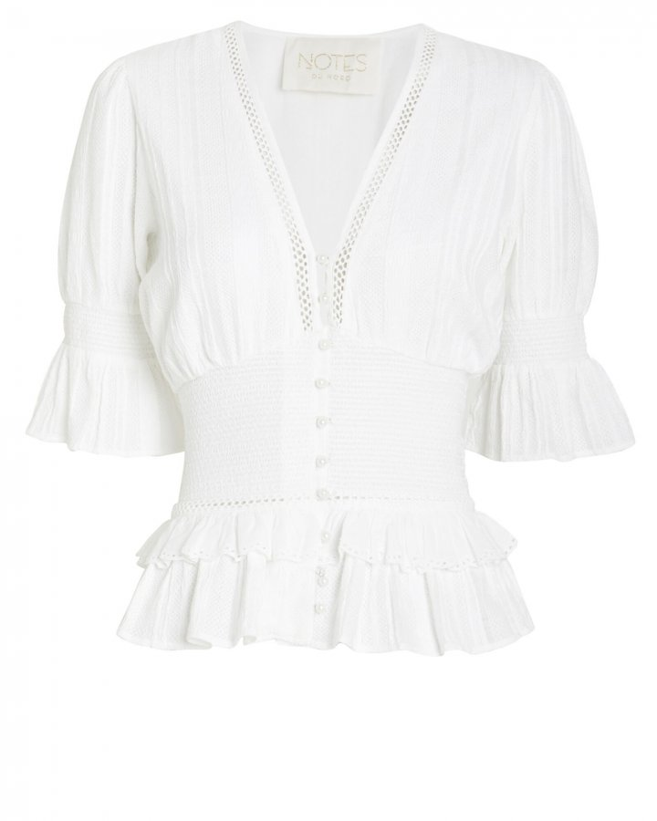 Lindsey Cotton Button Front Blouse