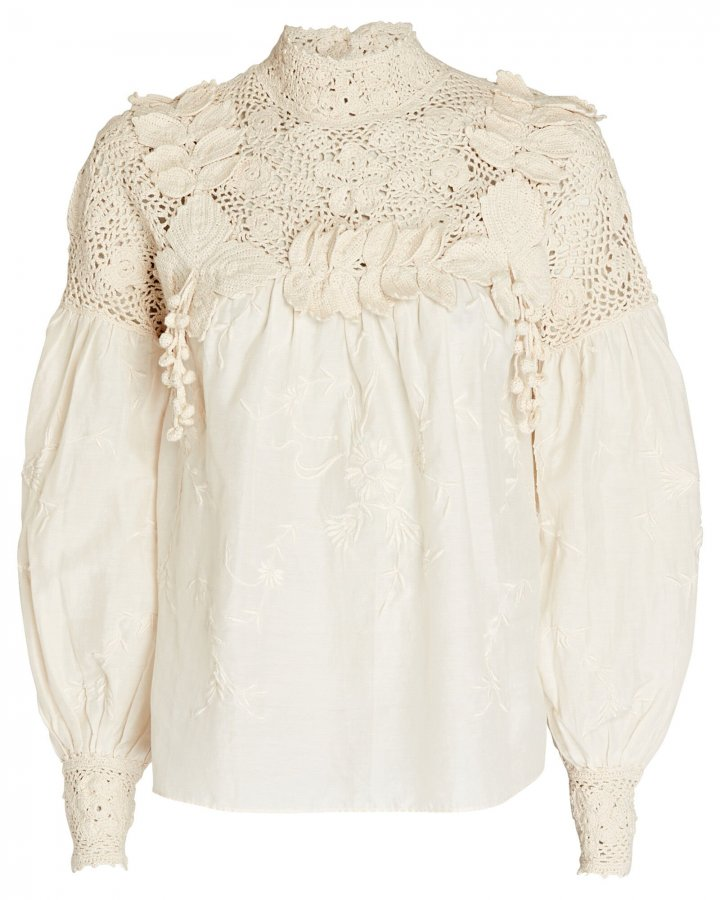 Theodora Crochet-Trimmed Blouse